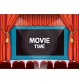 Vintage theater stage with red curtains and vector image