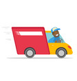 african-american courier driving a delivery truck