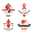 aids day isolated icons red stripe or loop charity vector image vector image