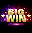big win banner for lottery or casino games such vector image vector image
