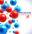 Blue and red molecules background3D molecule vector image