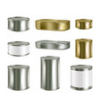 canned food realistic blank metal package vector image vector image