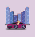 car and city design vector image