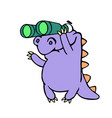 cartoon purple croc looking through binoculars vector image vector image