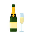 champagne with glass flat vector image vector image