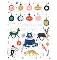 christmas new year icons set in flat style vector image vector image
