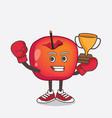 crab apple cartoon mascot character as boxing vector image vector image