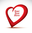 Decorative red love heart made with a copy space vector image vector image