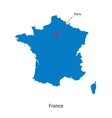 Detailed map of France and capital city Paris vector image