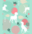 dog new year seamless pattern in trendy colors vector image vector image