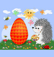 easter hedgehog with a brush and a palette paints vector image