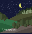 edge of the forest at night vector image
