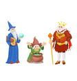 fairy tale king in crown wizard and witch vector image