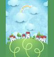 fantasy landscape with village vector image