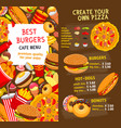 fast food menu price template vector image vector image