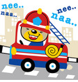 firefighter cartoon with funny driver vector image vector image