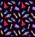 flat rocket seamless pattern vector image