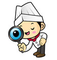 funny cook character examine a with a magnifier vector image