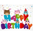 Happy birthday card with owl vector image