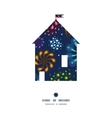 holiday fireworks house silhouette pattern frame vector image