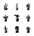 home cactus pot icon set simple style vector image vector image