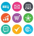 Internet seo icons Star shopping signs vector image vector image