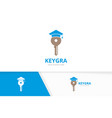 key and graduate hat logo combination lock vector image vector image