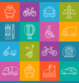 mode of transport lineart minimal iconset on vector image vector image