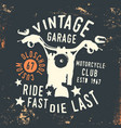 motorcycle club - vintage garage t shirt print vector image