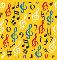 music note seamless pattern hand drawn sketched vector image vector image