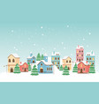 new year greeting card houses town trees lamp post vector image