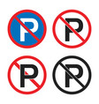 no parking road sign parking is prohibited icons vector image vector image