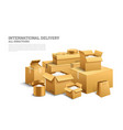 pile of realistic stacked cardboard box brown vector image vector image