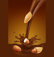 pouring chocolate and almond vector image vector image