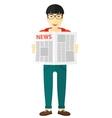 Reporter reading newspaper vector image vector image