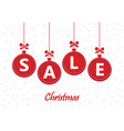sale word on red christmas balls on white vector image vector image