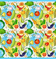 seamless pattern different vegetables ornament vector image vector image