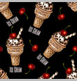 seamless pattern with ice cream and cherries vector image