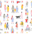 seasonal seamless pattern with tiny men women and vector image