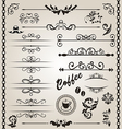 Set floral ornate design elements 7 vector image vector image