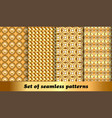set golden geometric seamless patterns vector image vector image
