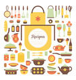set kitchen utensils and food vector image