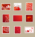 set of Valentines postage stamps vector image