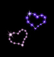 shining hearts neon sign retro neon sign heart vector image vector image