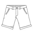 sketch - casual shorts on white background vector image vector image