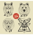 sketch of wild animal heads bear wolf deer vector image vector image