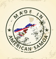 Stamp with map flag of American Samoa vector image