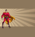 superhero standing tall ray light background vector image vector image