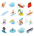 Surfing isons set isometric 3d style vector image vector image