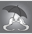 two worms and rainy weather eps10 vector image
